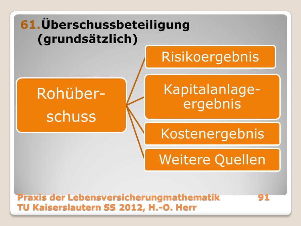 61.Überschussbeteiligung (grundsätzlich) Praxis der Lebensversicherungmathematik91 TU Kaiserslautern SS 2012, H.-O. Herr Rohüber- schuss Risikoergebni