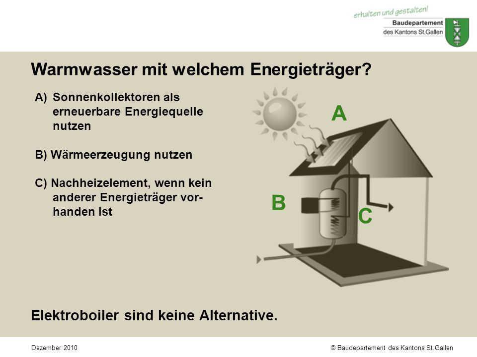 © Baudepartement des Kantons St.GallenDezember 2010 A B C Warmwasser mit welchem Energieträger.