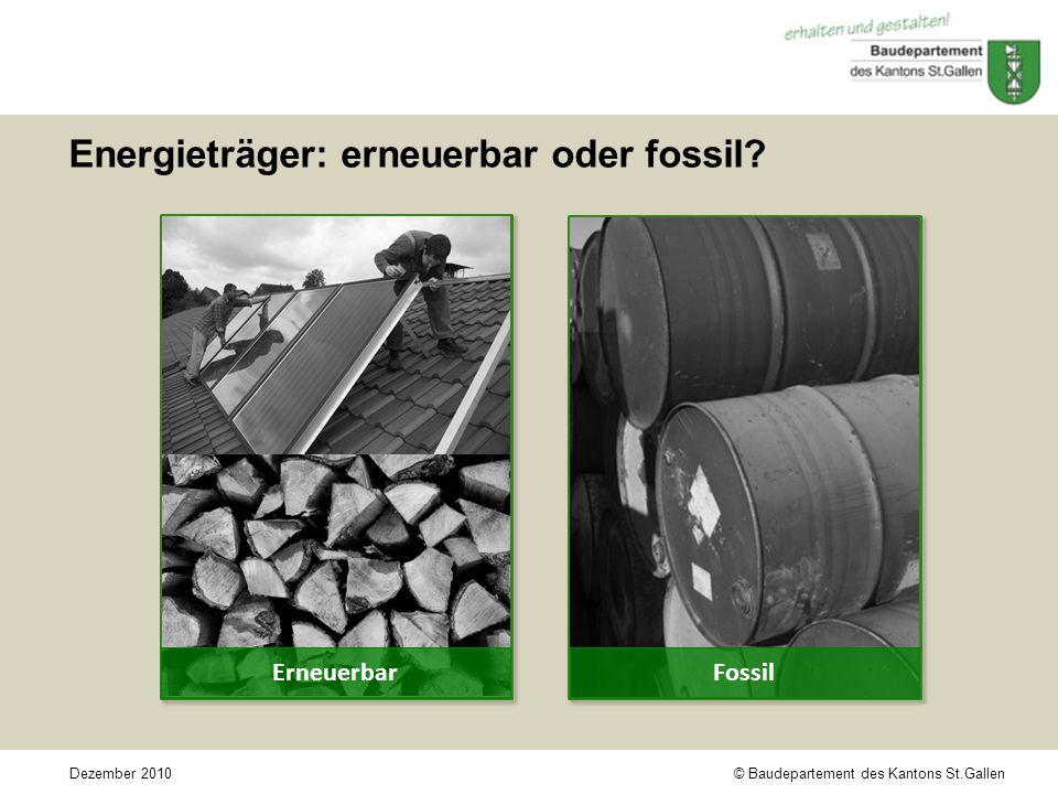 © Baudepartement des Kantons St.GallenDezember 2010 Energieträger: erneuerbar oder fossil.