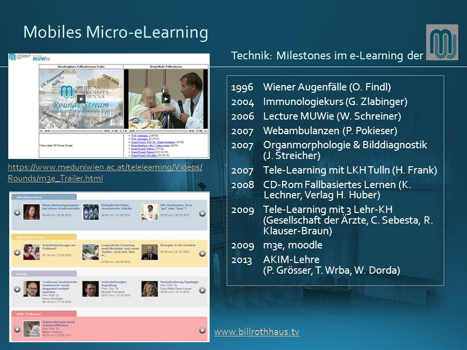 Mobiles Micro-eLearning 1996Wiener Augenfälle (O.Findl) 2004Immunologiekurs (G.