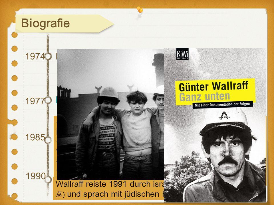 """1974 1985 1990 1977 Einmal verliert er den Kampf Die """"Anti-BILD-Trilogie"""" In Israel während des Zweiten Golfkriegs Ganz unten Türkischer Gastarbeiter"""