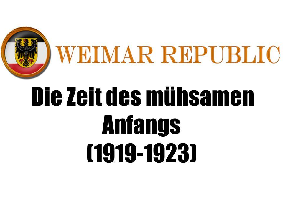 Die Zeit des mühsamen Anfangs (1919-1923)