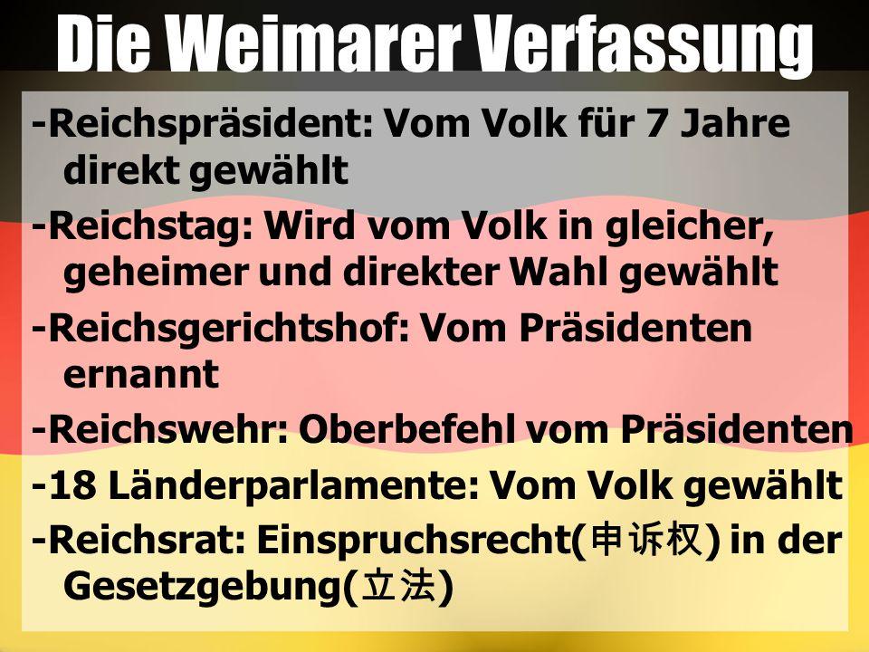 -Reichspräsident: Vom Volk für 7 Jahre direkt gewählt -Reichstag: Wird vom Volk in gleicher, geheimer und direkter Wahl gewählt -Reichsgerichtshof: Vo
