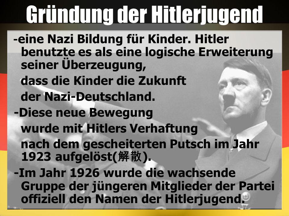 Gründung der Hitlerjugend - eine Nazi Bildung für Kinder. Hitler benutzte es als eine logische Erweiterung seiner Überzeugung, dass die Kinder die Zuk
