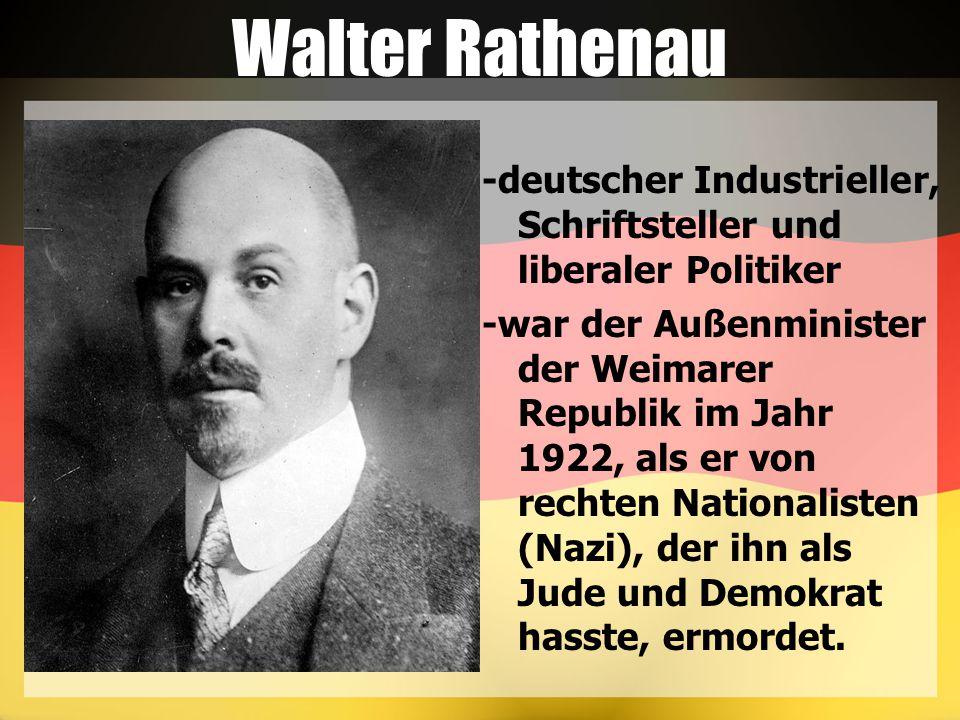 Walter Rathenau -deutscher Industrieller, Schriftsteller und liberaler Politiker -war der Außenminister der Weimarer Republik im Jahr 1922, als er von rechten Nationalisten (Nazi), der ihn als Jude und Demokrat hasste, ermordet.