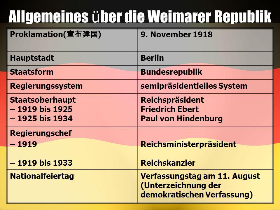 Allgemeines ü ber die Weimarer Republik Proklamation( 宣布建国 ) 9. November 1918 HauptstadtBerlin StaatsformBundesrepublik Regierungssystemsemipräsidenti