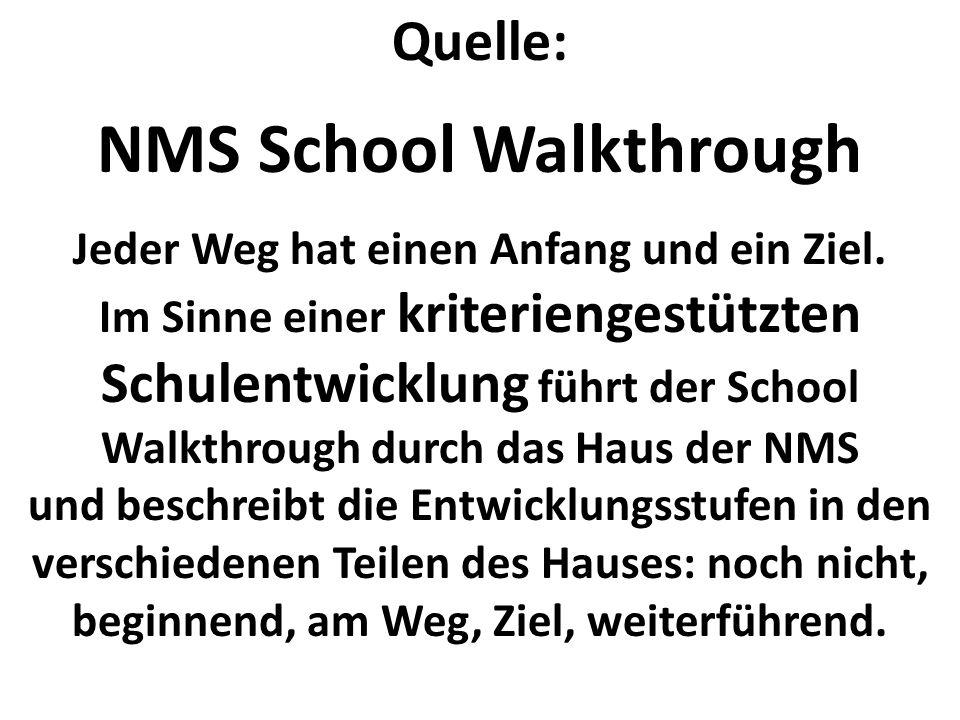 Quelle: NMS School Walkthrough Jeder Weg hat einen Anfang und ein Ziel. Im Sinne einer kriteriengestützten Schulentwicklung führt der School Walkthrou