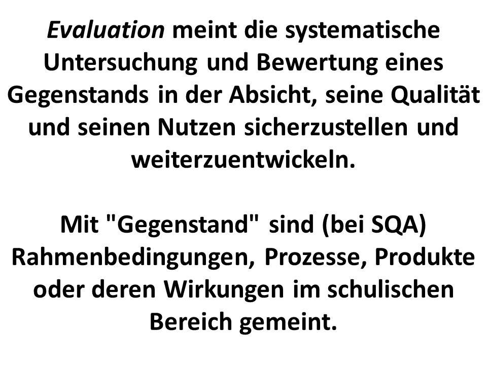 Evaluation meint die systematische Untersuchung und Bewertung eines Gegenstands in der Absicht, seine Qualität und seinen Nutzen sicherzustellen und w