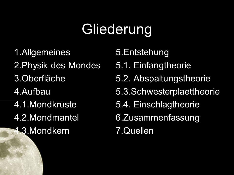 Gliederung 1.Allgemeines 2.Physik des Mondes 3.Oberfläche 4.Aufbau 4.1.Mondkruste 4.2.Mondmantel 4.3.Mondkern 5.Entstehung 5.1. Einfangtheorie 5.2. Ab