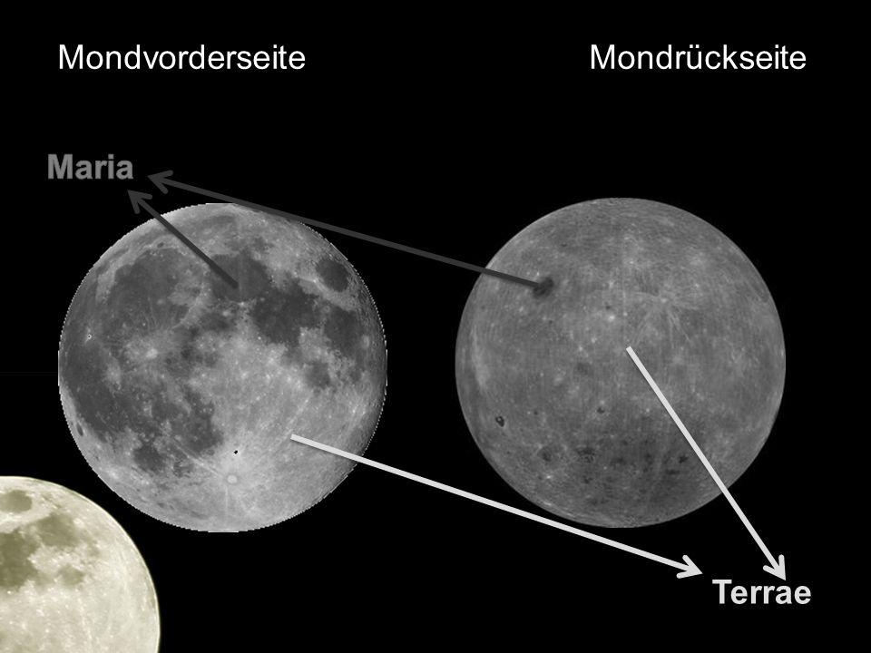 3.Die Oberfläche des Mondes Krater Sowohl in Maria (weniger) als auch in Terrae (mehr) Durchmesser von 0,01 mm bis zu 300km Durch Meteoriden entstanden