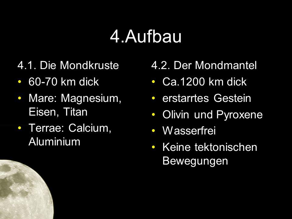4.Aufbau 4.1. Die Mondkruste 60-70 km dick Mare: Magnesium, Eisen, Titan Terrae: Calcium, Aluminium 4.2. Der Mondmantel Ca.1200 km dick erstarrtes Ges