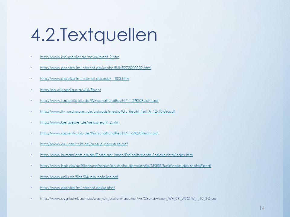 4.2.Textquellen http://www.kreisgebiet.de/news/recht_2.htm http://www.gesetze-im-internet.de/juschg/BJNR273000002.html http://www.gesetze-im-internet.