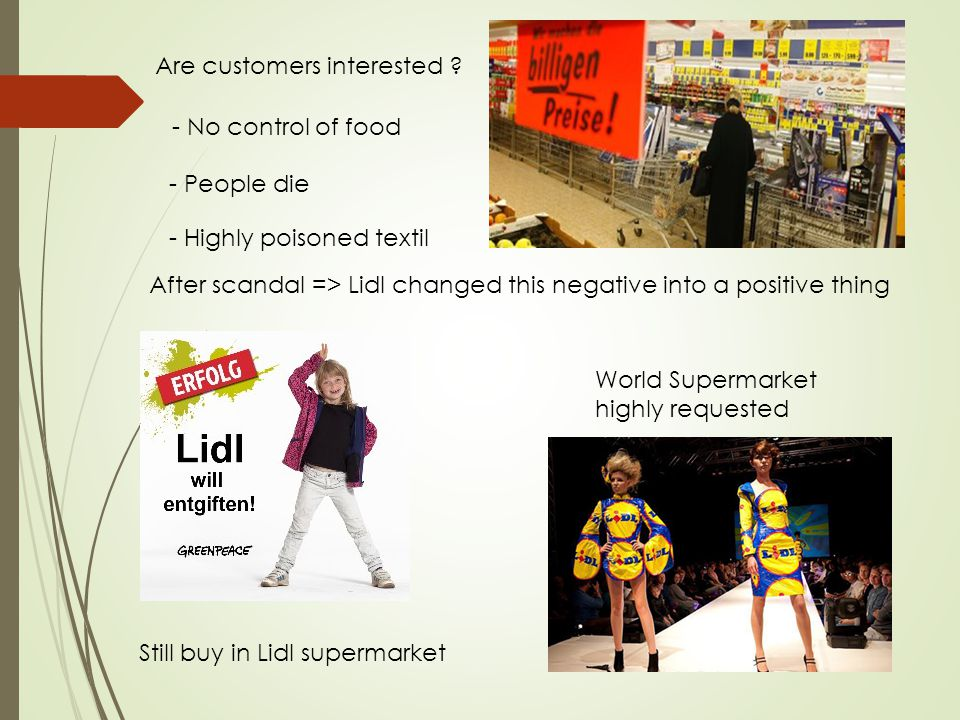 Are customers interested ? After scandal => Lidl changed this negative into a positive thing World Supermarket highly requested - No control of food -