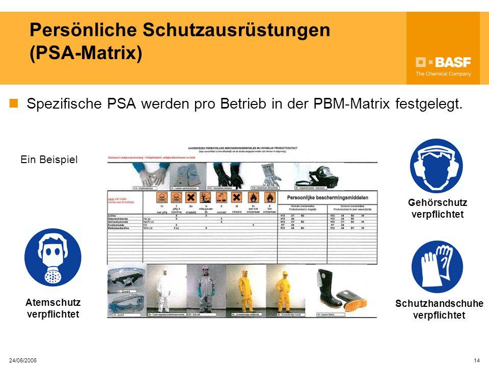24/06/2006 13 Persönliche Schutzausrüstungen (PSA) PSA, von dem Arbeitgeber versorgt, dienen als Schutz gegen Restrisiken. In der Anlage ist jeder imm