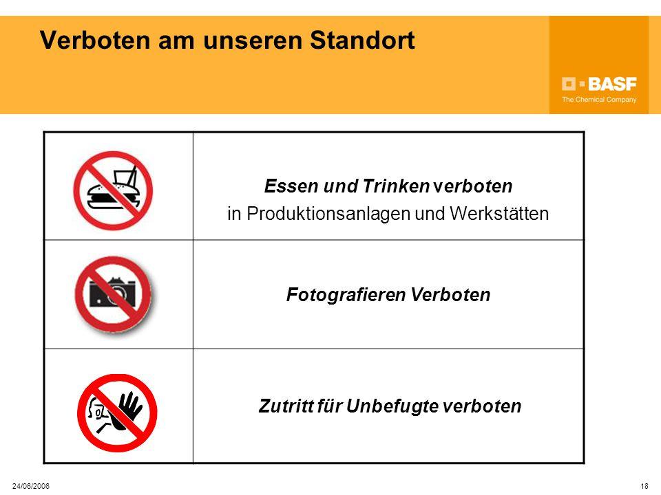 24/06/2006 17 Allgemeines Handy-Verbot in allen Produktionsanlagen Auch KEIN EX-Handy gestattet in Räumen, versehen mit diesem Piktogramm Explosionssi