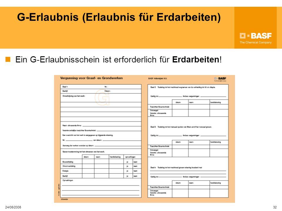 24/06/2006 31 V-Erlaubnis für Schweiß- und Schleifarbeiten Bei Schweiß- und Schleifarbeiten muss immer ein Löschgerät vorhanden sein.