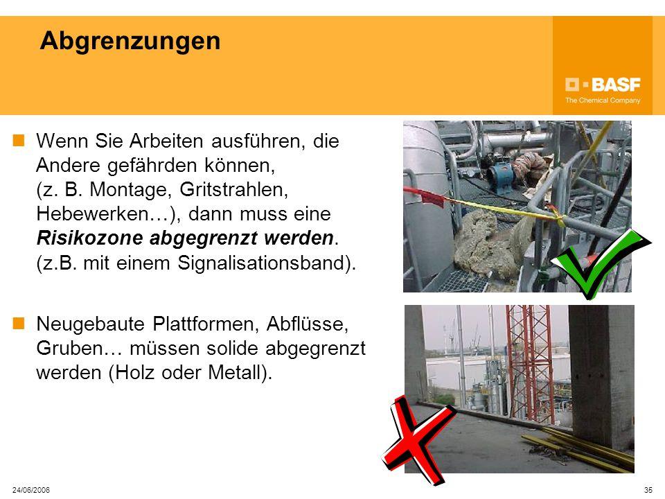 24/06/2006 34 Elektrische Maschinen und Kabel Geräte mit beschädigten Kabeln stellen eine große Stromschlaggefährdung da und dürfen nie verwendet werden.