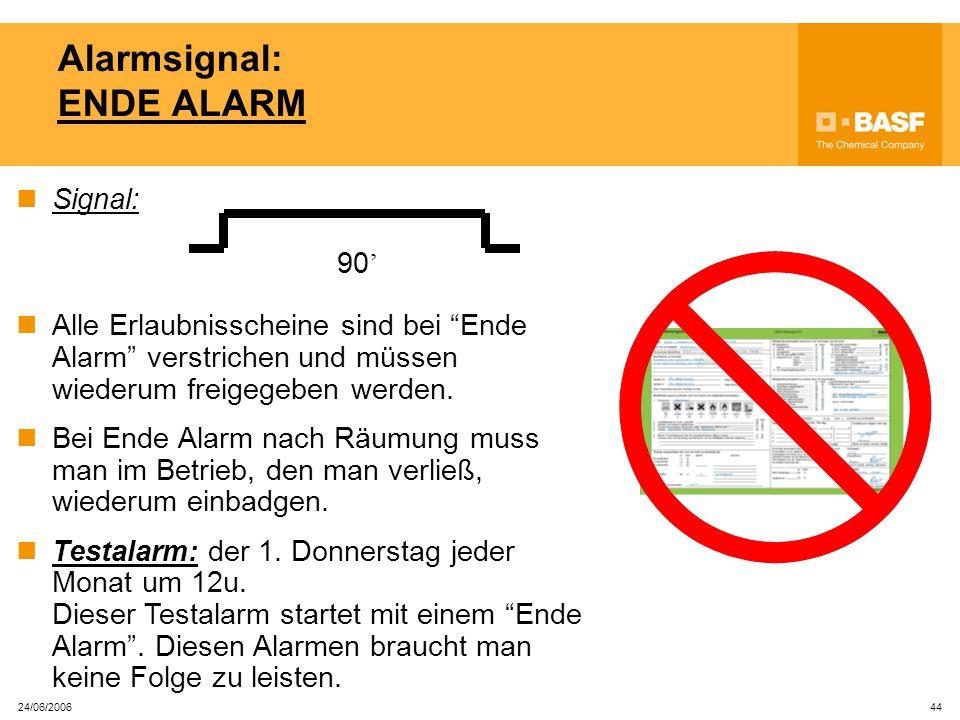 24/06/2006 43 Wie erkennt man einen 'Betrieb in Alarm'? Wenn es in einem Betrieb einen Alarm gibt, brennt eine orangefarbige Blitzlampe auf dem IN-Les