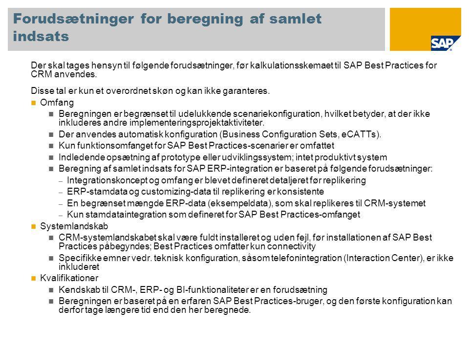 Anvendelse af kalkulationsskema SAP Best Practices for CRM-konfiguration er opdelt i separate konfigurationsenheder, såkaldte Building Blocks.