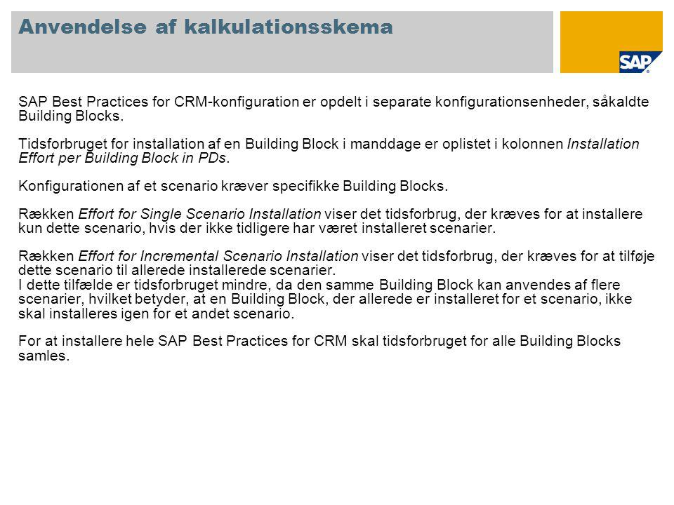 Anvendelse af kalkulationsskema SAP Best Practices for CRM-konfiguration er opdelt i separate konfigurationsenheder, såkaldte Building Blocks.