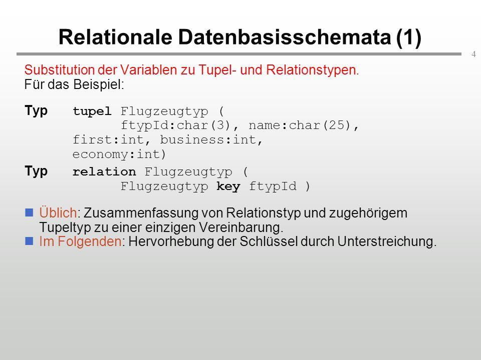 4 Relationale Datenbasisschemata (1) Substitution der Variablen zu Tupel- und Relationstypen. Für das Beispiel: Typ tupel Flugzeugtyp ( ftypId:char(3)