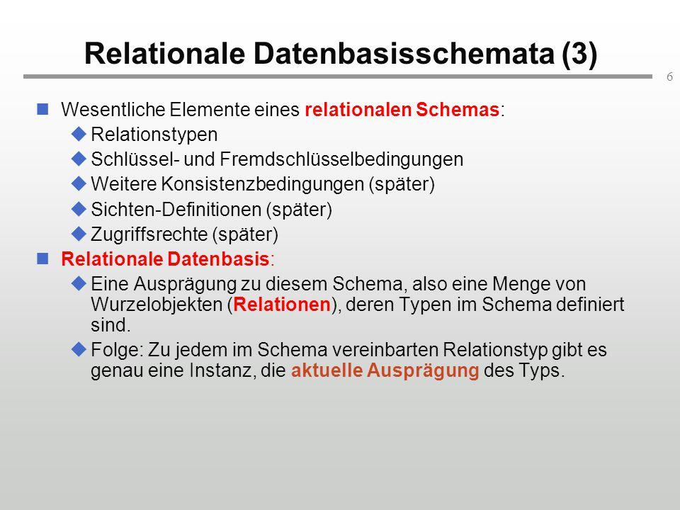 6 Relationale Datenbasisschemata (3) Wesentliche Elemente eines relationalen Schemas:  Relationstypen  Schlüssel- und Fremdschlüsselbedingungen  We