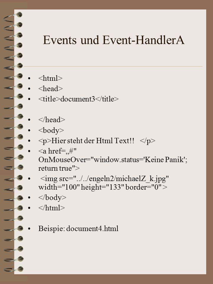 """In Java Script werden die Eigenschaften eines Objektes durch folgende Befehle zugeordnet: document.bgColor = red document.bgColor = red document.fgColor = black""""document.fgColor = black"""" Die Eigenschaften des Objektes werden ausgelesen durch: document.write( Hintergrundfarbe dieser Seite ist +document.bgColor+ . )document.write( Hintergrundfarbe dieser Seite ist +document.bgColor+ . ) Beispiel: document2.htmlBeispiel: document2.html"""