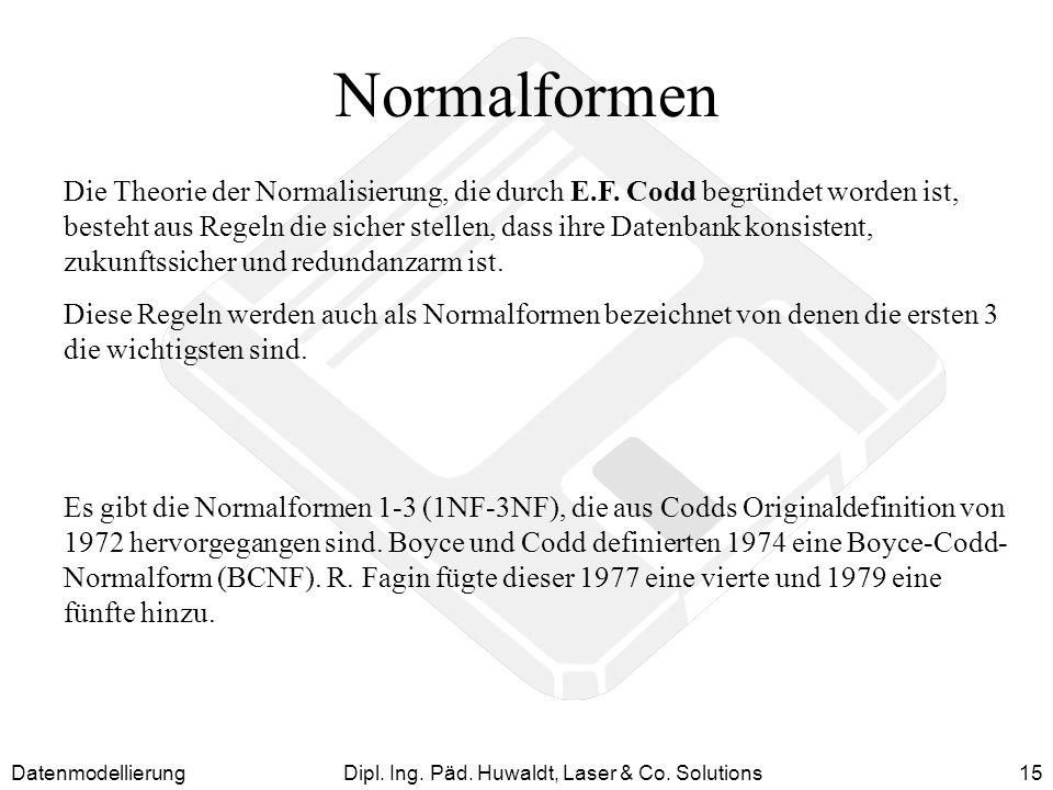 DatenmodellierungDipl. Ing. Päd. Huwaldt, Laser & Co. Solutions15 Normalformen Die Theorie der Normalisierung, die durch E.F. Codd begründet worden is
