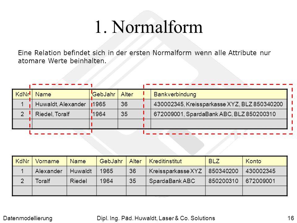 DatenmodellierungDipl. Ing. Päd. Huwaldt, Laser & Co. Solutions16 1. Normalform Eine Relation befindet sich in der ersten Normalform wenn alle Attribu