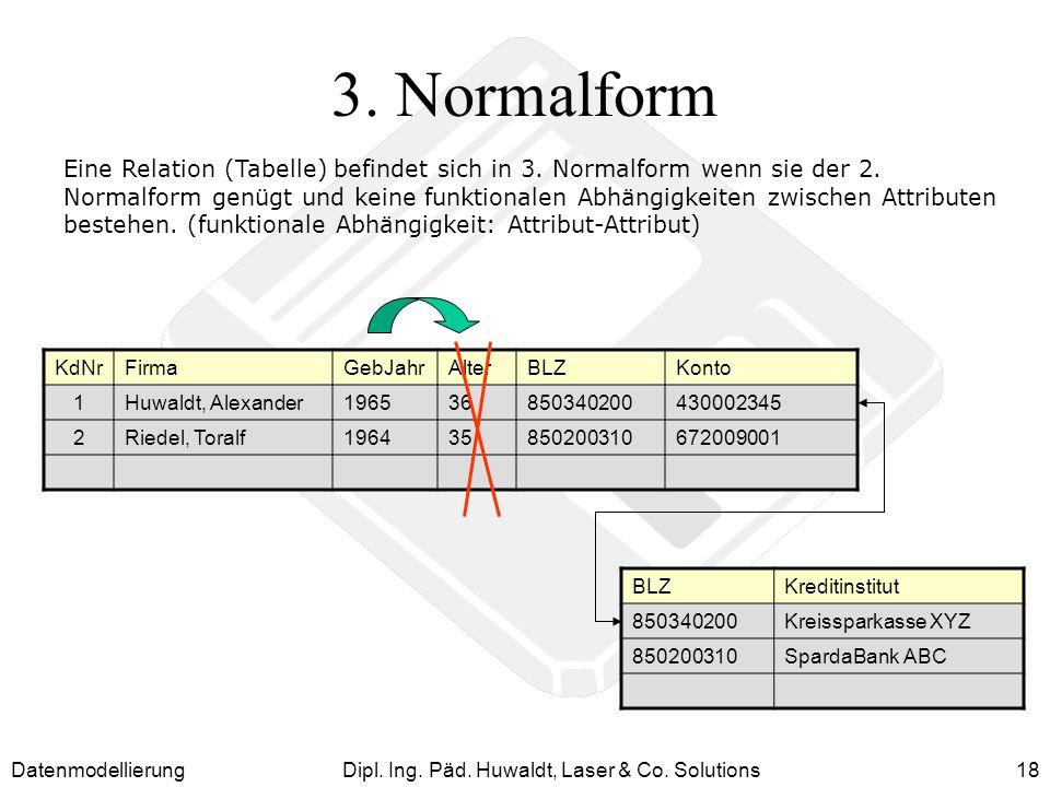 DatenmodellierungDipl. Ing. Päd. Huwaldt, Laser & Co. Solutions18 3. Normalform Eine Relation (Tabelle) befindet sich in 3. Normalform wenn sie der 2.