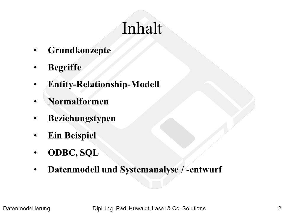 DatenmodellierungDipl. Ing. Päd. Huwaldt, Laser & Co. Solutions2 Inhalt Grundkonzepte Begriffe Entity-Relationship-Modell Normalformen Beziehungstypen
