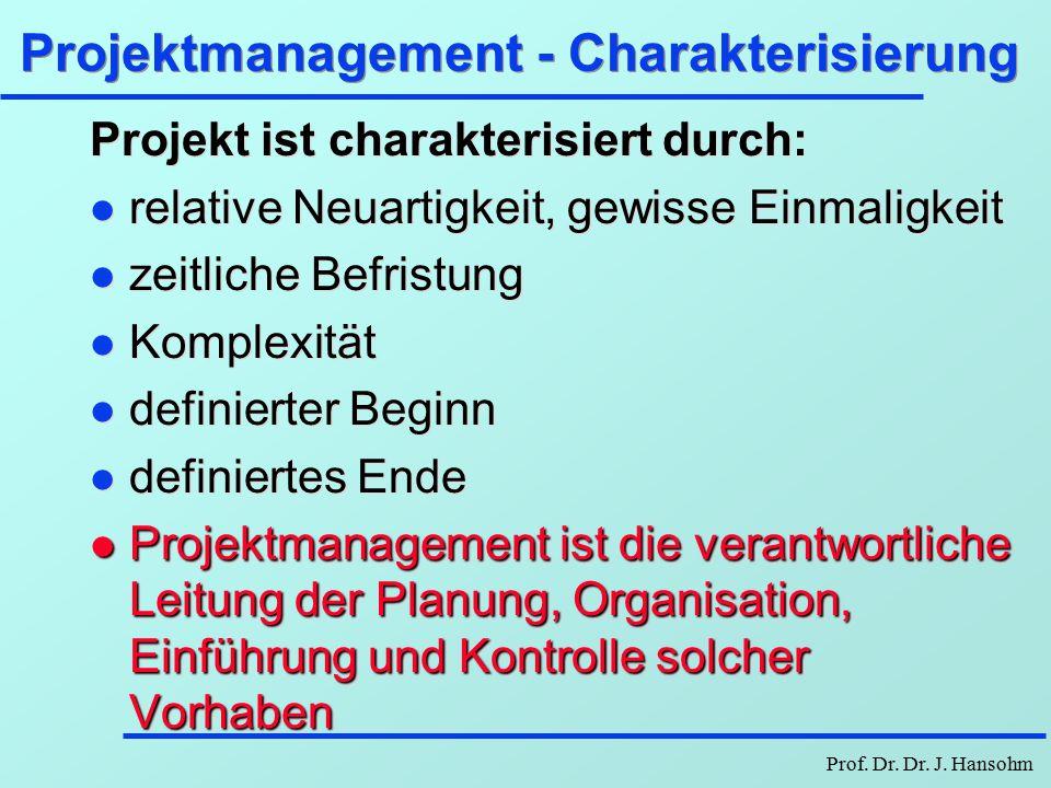 Prof. Dr. Dr. J. Hansohm Projektmanagement è Graph und Netzplan è CPM, Berechnungen è MPM, Algorithmen, PM-Software è PERT-Methode è Stochastische Net