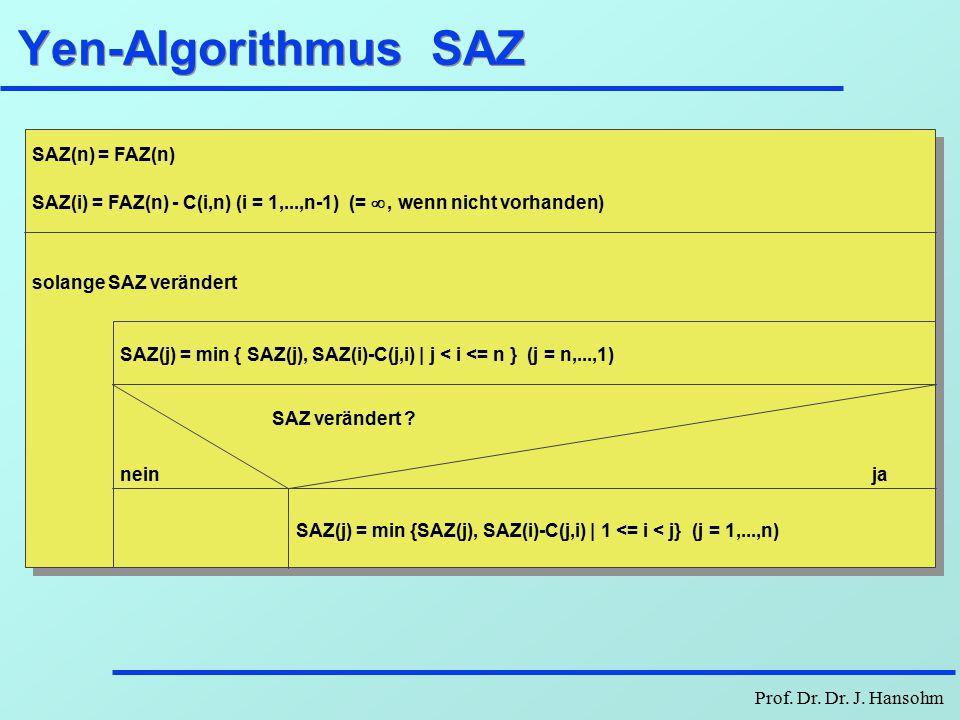 Prof. Dr. Dr. J. Hansohm Yen-Algorithmus FAZ FAZ(1)=0 FAZ(i) = C(1,i) (i = 2,...,n) (= - , wenn nicht vorhanden) k = 0 solange FAZ verändert und k <=