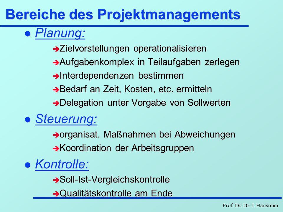 Prof. Dr. Dr. J. Hansohm Projektmanagement - Charakterisierung Projekt ist charakterisiert durch: l relative Neuartigkeit, gewisse Einmaligkeit l zeit