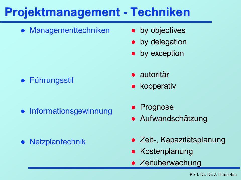 Prof. Dr. Dr. J. Hansohm Bereiche des Projektmanagements l Planung: è Zielvorstellungen operationalisieren è Aufgabenkomplex in Teilaufgaben zerlegen