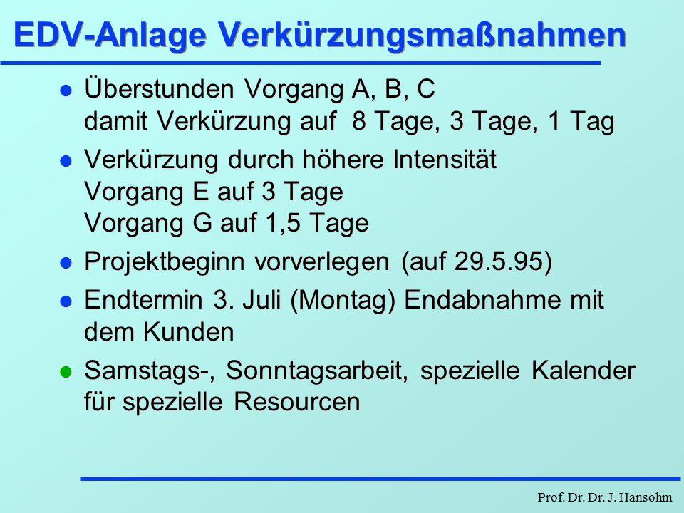 Prof. Dr. Dr. J. Hansohm EDV-Anlage Kapazitätsausgleich