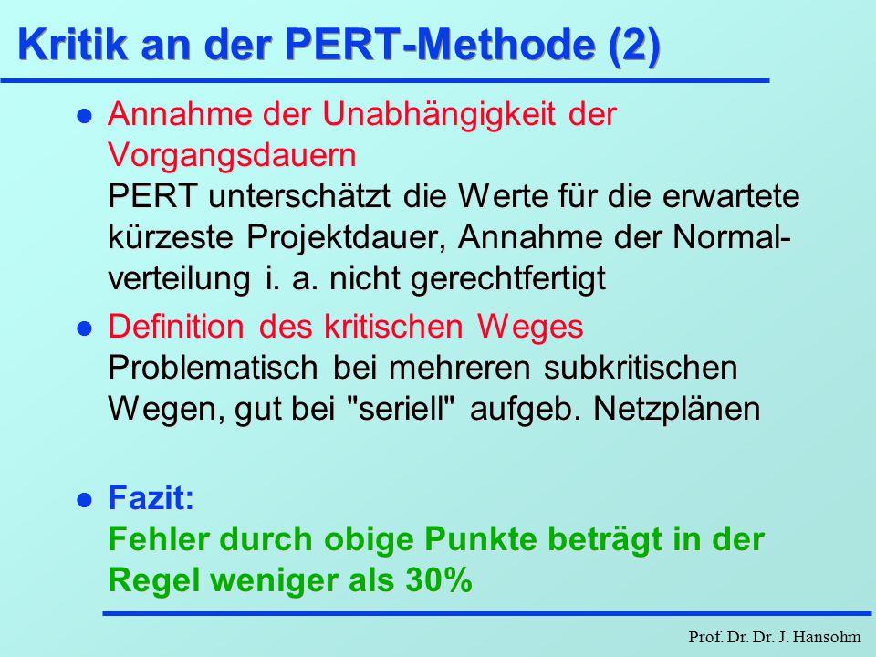 Prof. Dr. Dr. J. Hansohm Kritik an der PERT-Methode (1) l Annahme der Beta-Verteilung: 33,3% für MD, 16,7% für Sqrt(VD) maximale Abweich. bei einer un
