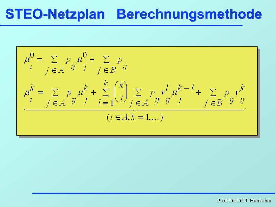 Prof. Dr. Dr. J. Hansohm STEO - Netzplan ij p, D, K 4 0.8, 4, 4 Werbung 0.1, 2, 5 12 1, 4, 8 Entwickl. 3 1, 3, 3 Q.-TestMarkttest 5 0.7, 3, 6 Einführ.