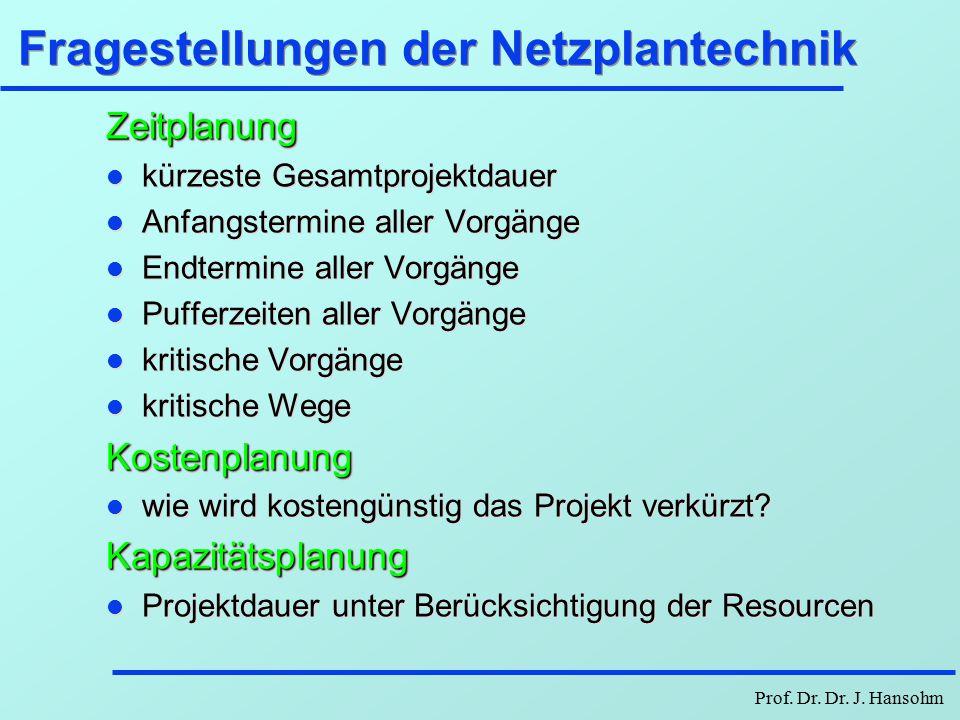 Prof. Dr. Dr. J. Hansohm Erstellen einer DV-Anlage - Interdependenzen 2zeitliche Interdependenzen bestimmen VorgangDauer Vorgänger -------------------