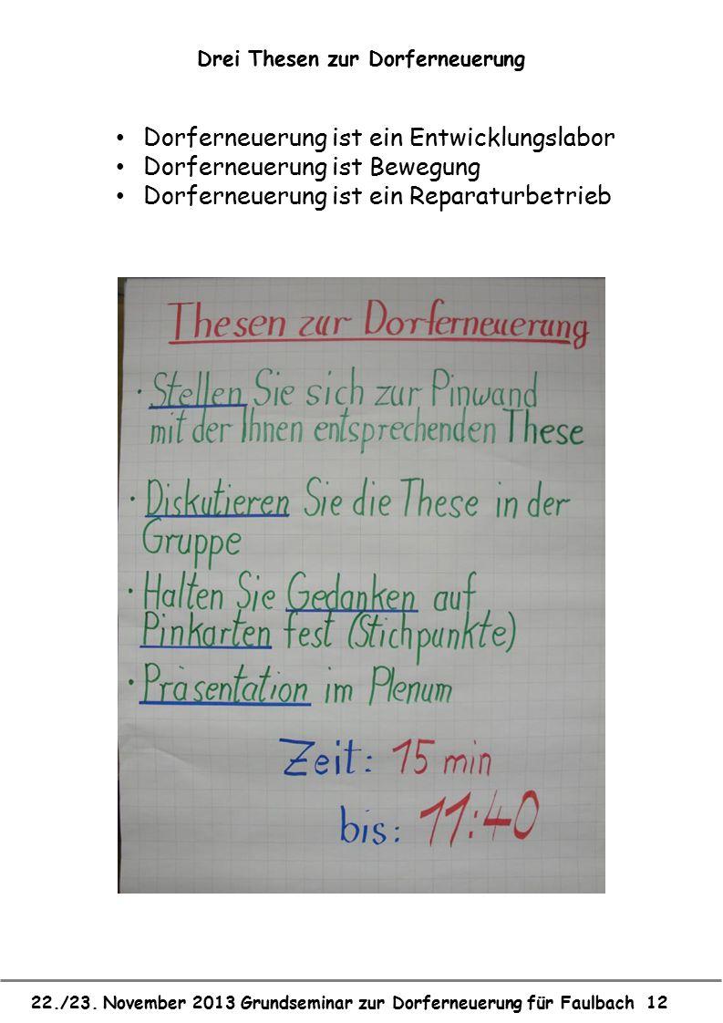 22./23. November 2013 Grundseminar zur Dorferneuerung für Faulbach 12 Drei Thesen zur Dorferneuerung Dorferneuerung ist ein Entwicklungslabor Dorferne
