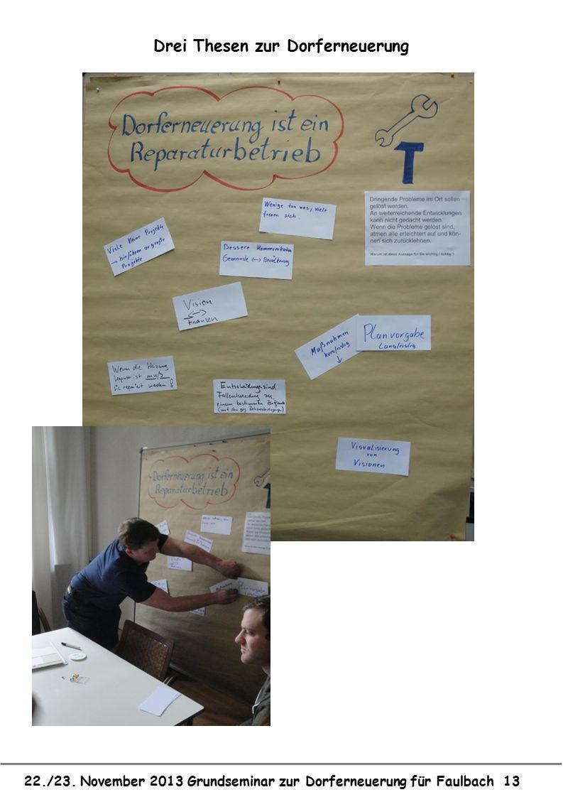 22./23. November 2013 Grundseminar zur Dorferneuerung für Faulbach 13 Drei Thesen zur Dorferneuerung