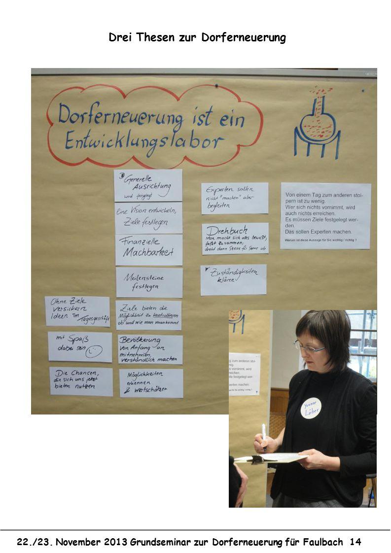 22./23. November 2013 Grundseminar zur Dorferneuerung für Faulbach 14 Drei Thesen zur Dorferneuerung