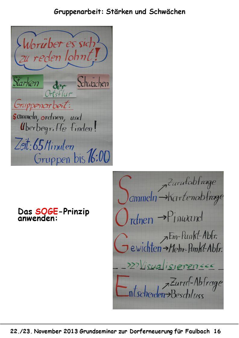 22./23. November 2013 Grundseminar zur Dorferneuerung für Faulbach 16 Gruppenarbeit: Stärken und Schwächen Das SOGE-Prinzip anwenden: