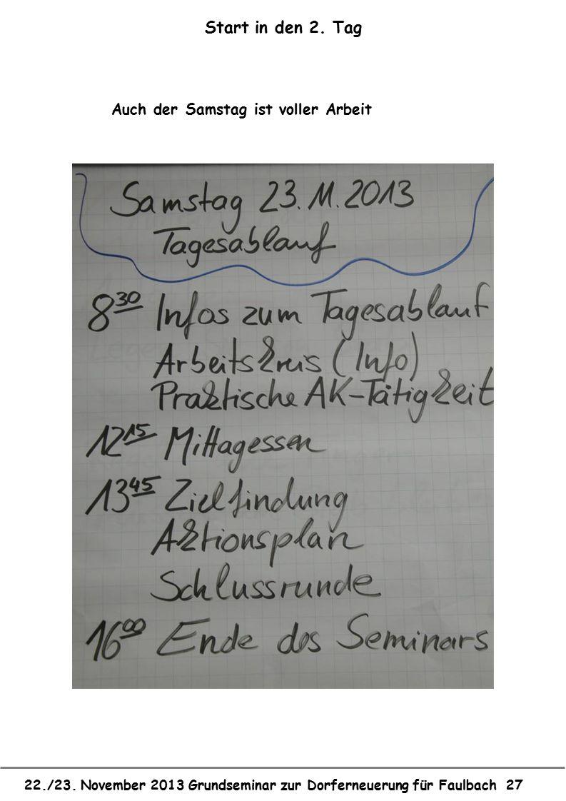 22./23. November 2013 Grundseminar zur Dorferneuerung für Faulbach 27 Start in den 2. Tag Auch der Samstag ist voller Arbeit