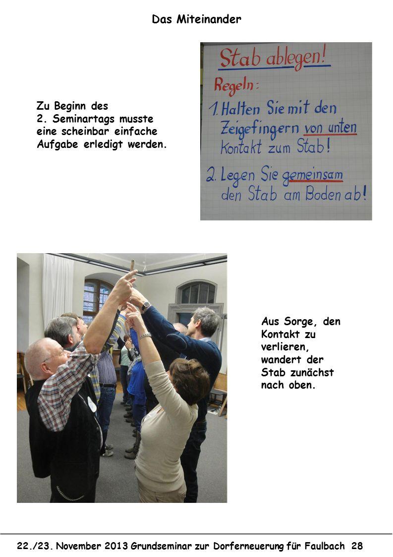 22./23. November 2013 Grundseminar zur Dorferneuerung für Faulbach 28 Das Miteinander Zu Beginn des 2. Seminartags musste eine scheinbar einfache Aufg