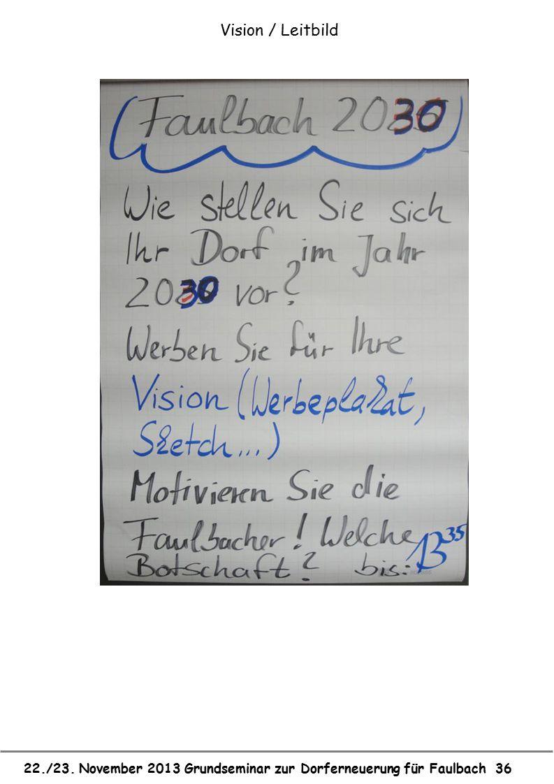 22./23. November 2013 Grundseminar zur Dorferneuerung für Faulbach 36 Vision / Leitbild