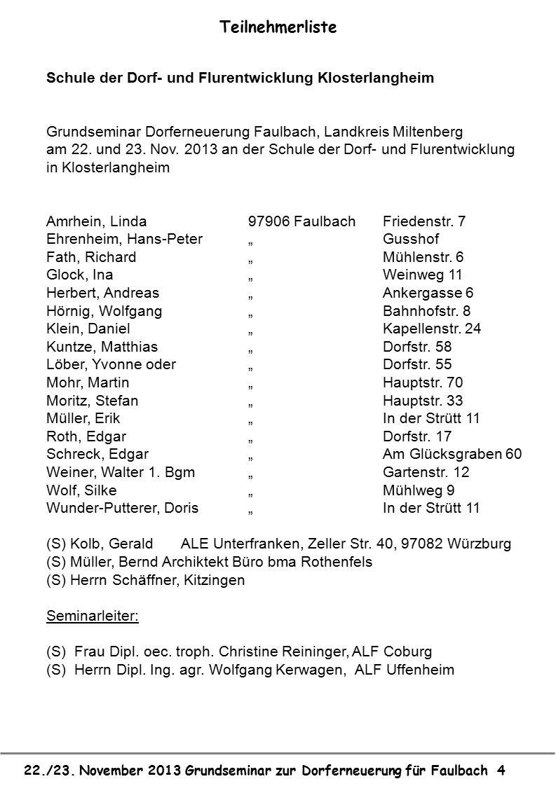 22./23. November 2013 Grundseminar zur Dorferneuerung für Faulbach 4 Teilnehmerliste Schule der Dorf- und Flurentwicklung Klosterlangheim Grundseminar