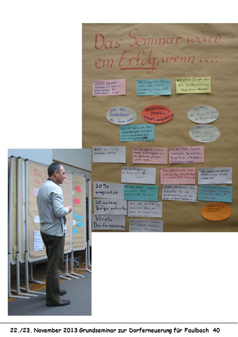 22./23. November 2013 Grundseminar zur Dorferneuerung für Faulbach 40