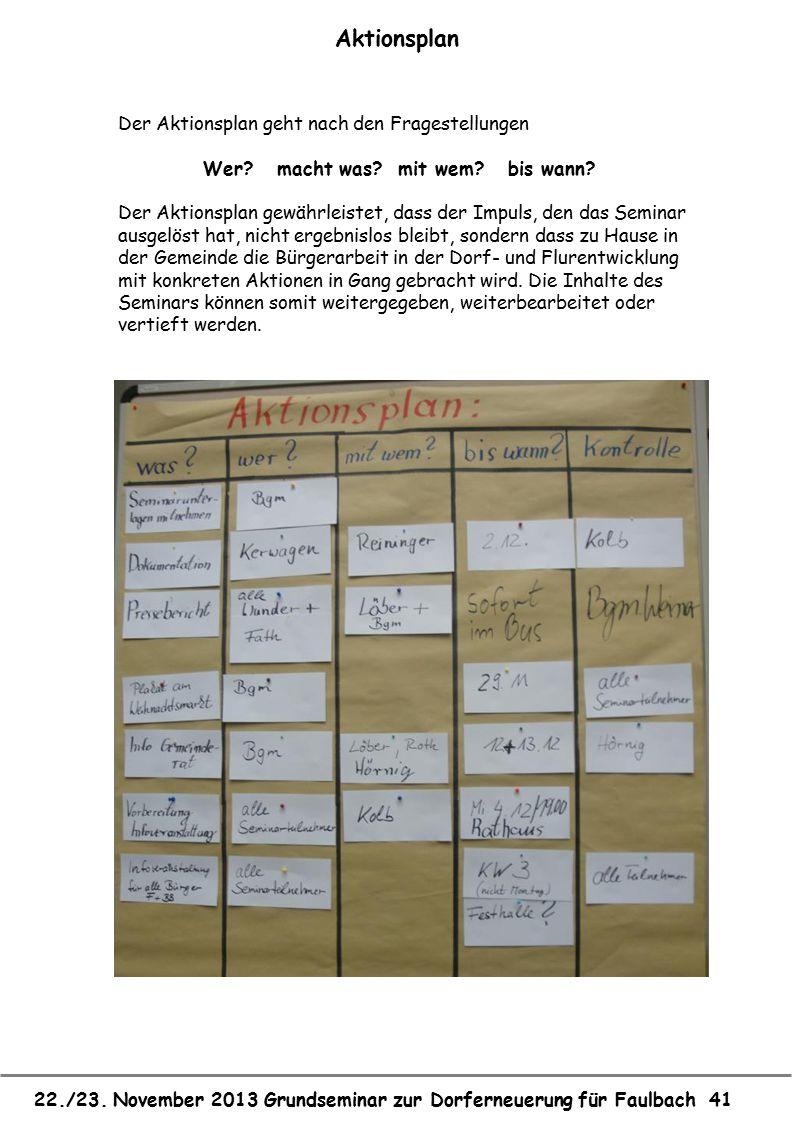 22./23. November 2013 Grundseminar zur Dorferneuerung für Faulbach 41 Aktionsplan Der Aktionsplan geht nach den Fragestellungen Wer? macht was? mit we