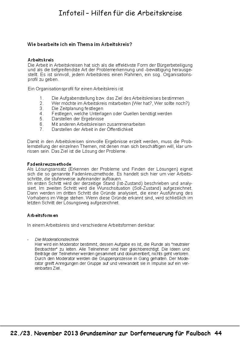 22./23. November 2013 Grundseminar zur Dorferneuerung für Faulbach 44 Infoteil – Hilfen für die Arbeitskreise